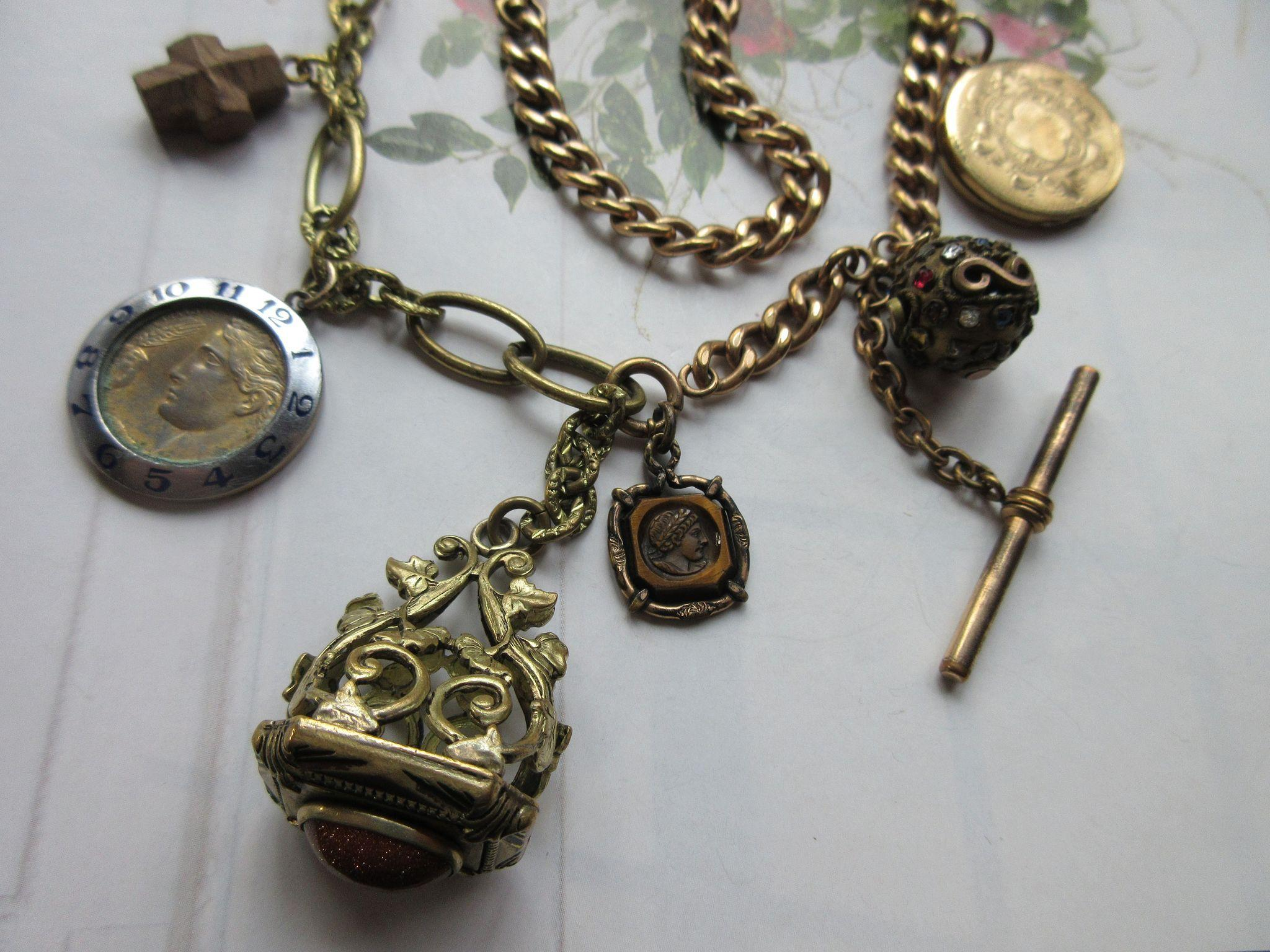 Victorian Watch Chain Fob Necklace, Charm Necklace