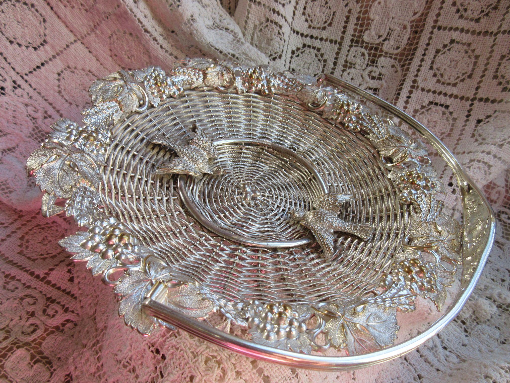 Victorian Silver Plate Basket, Love Birds, Wedding Gifts
