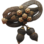 Victorian Lovers Knot Hair Brooch, Acorns and Flowers
