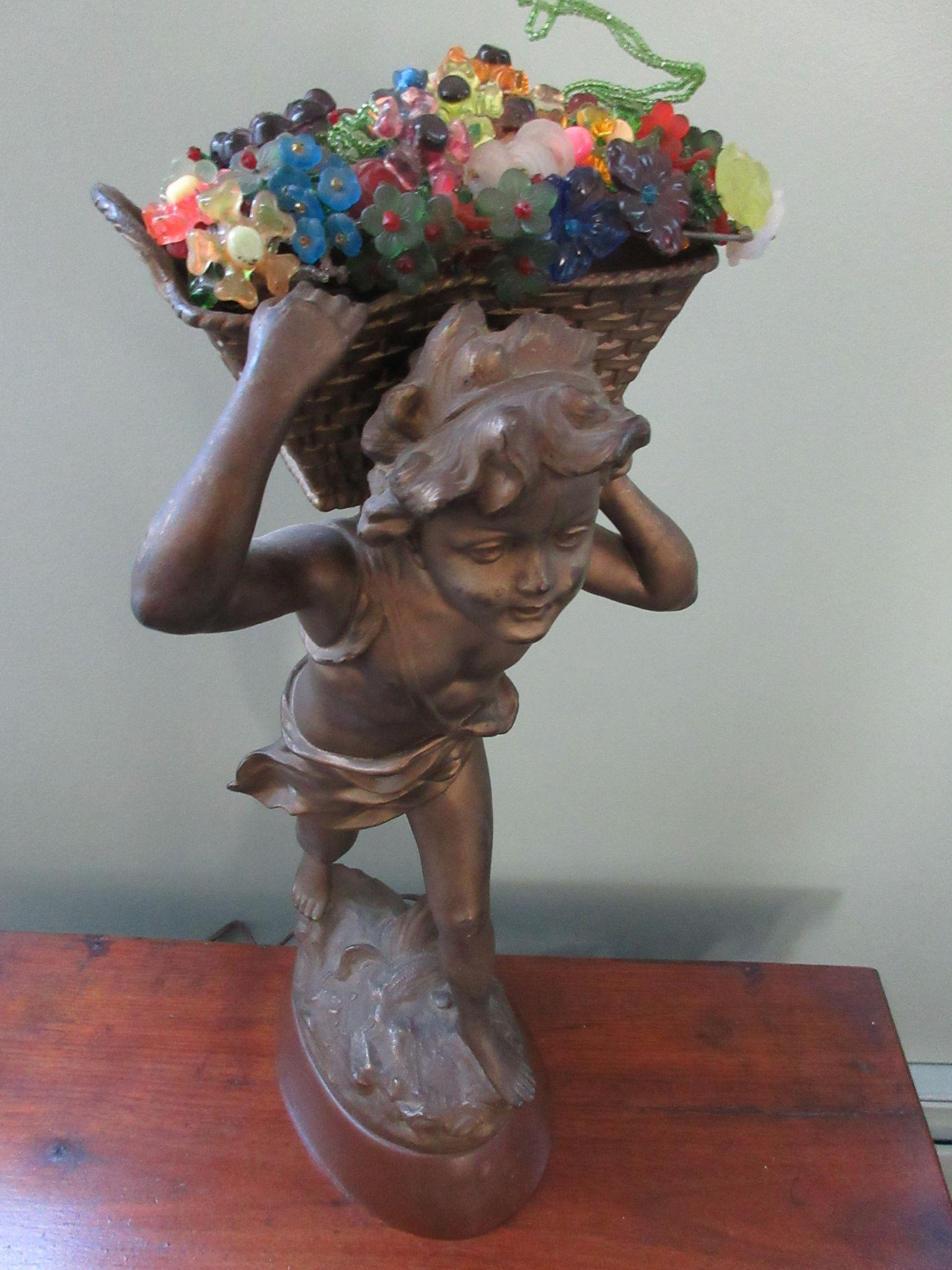 Art Nouveau Newel Post Lamp, Czech Flower Basket Shade