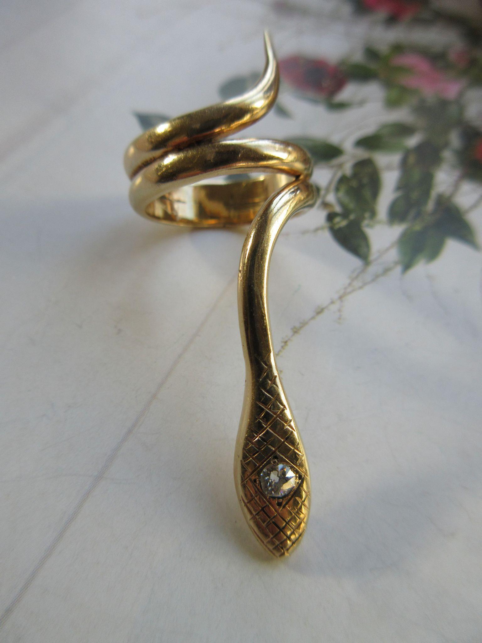 Circa 1910 14K Diamond Snake Ring, Romantic Eternal Love