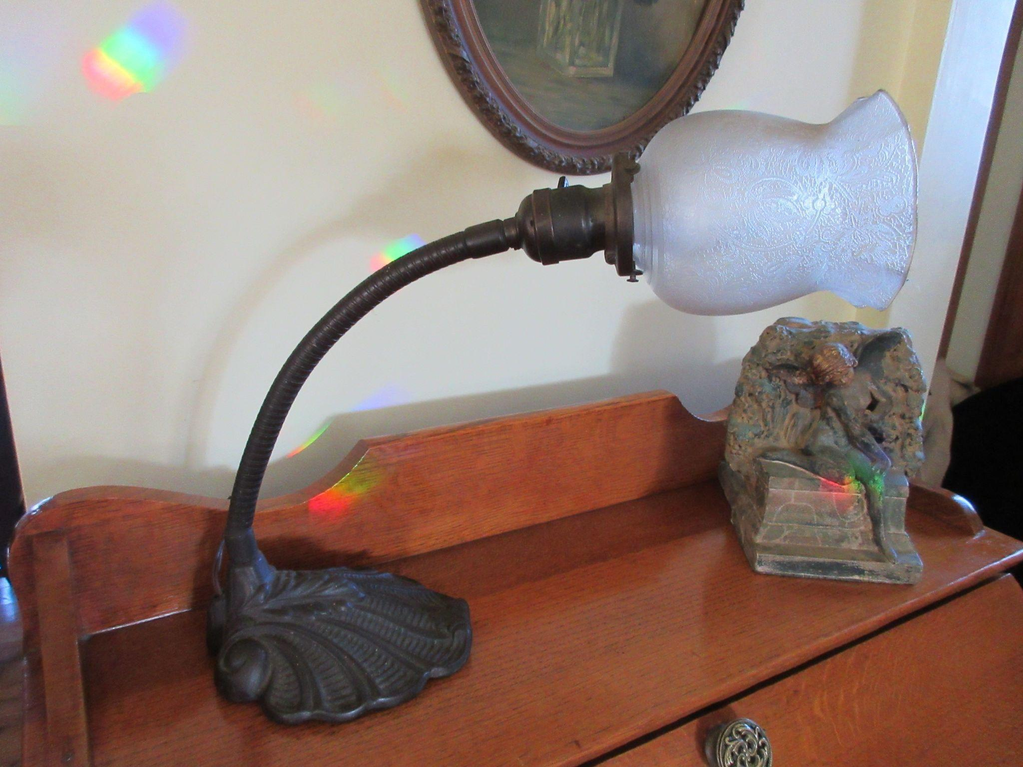Art Nouveau Iron Gooseneck Desk Lamp, Boudoir Lamp, Pat. 1890, H.M.Co