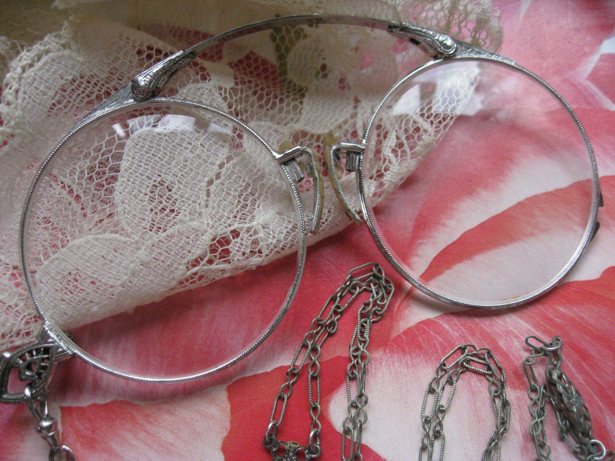Deco White Gold Fill Lorgnette Necklace, Downton Abbey Accessories, Vintage Lorgnette