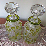 Victorian French St. Louis Glass Acid Etched Perfume Bottles, Pair of Victorian Antique Perfumes