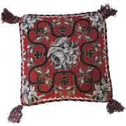 Victorian 10'' Needle Point Beaded  Pillow