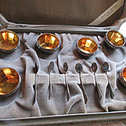 Vintage Boxed Set Sterling Open Salt Cellars & Spoons, Set of Six Salts, Webster co.