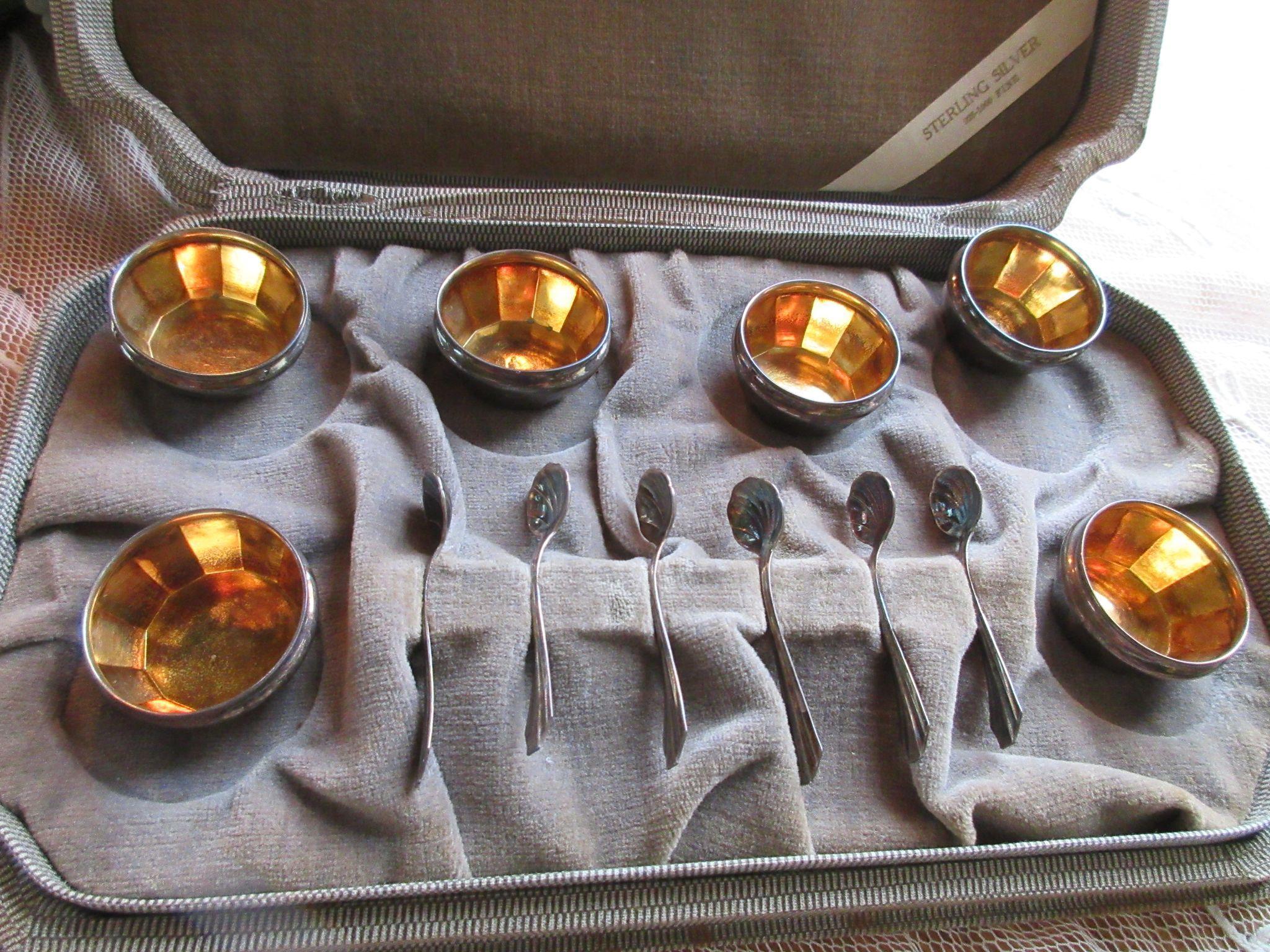 Vintage Boxed Set Sterling Open Salt Cellars & Spoons, Set of Six Salts, Webster co.