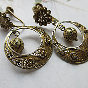 Vintage 1930s Spun Silver Gilt Earrings, 800 Silver European Earrings, Screw Back hoops