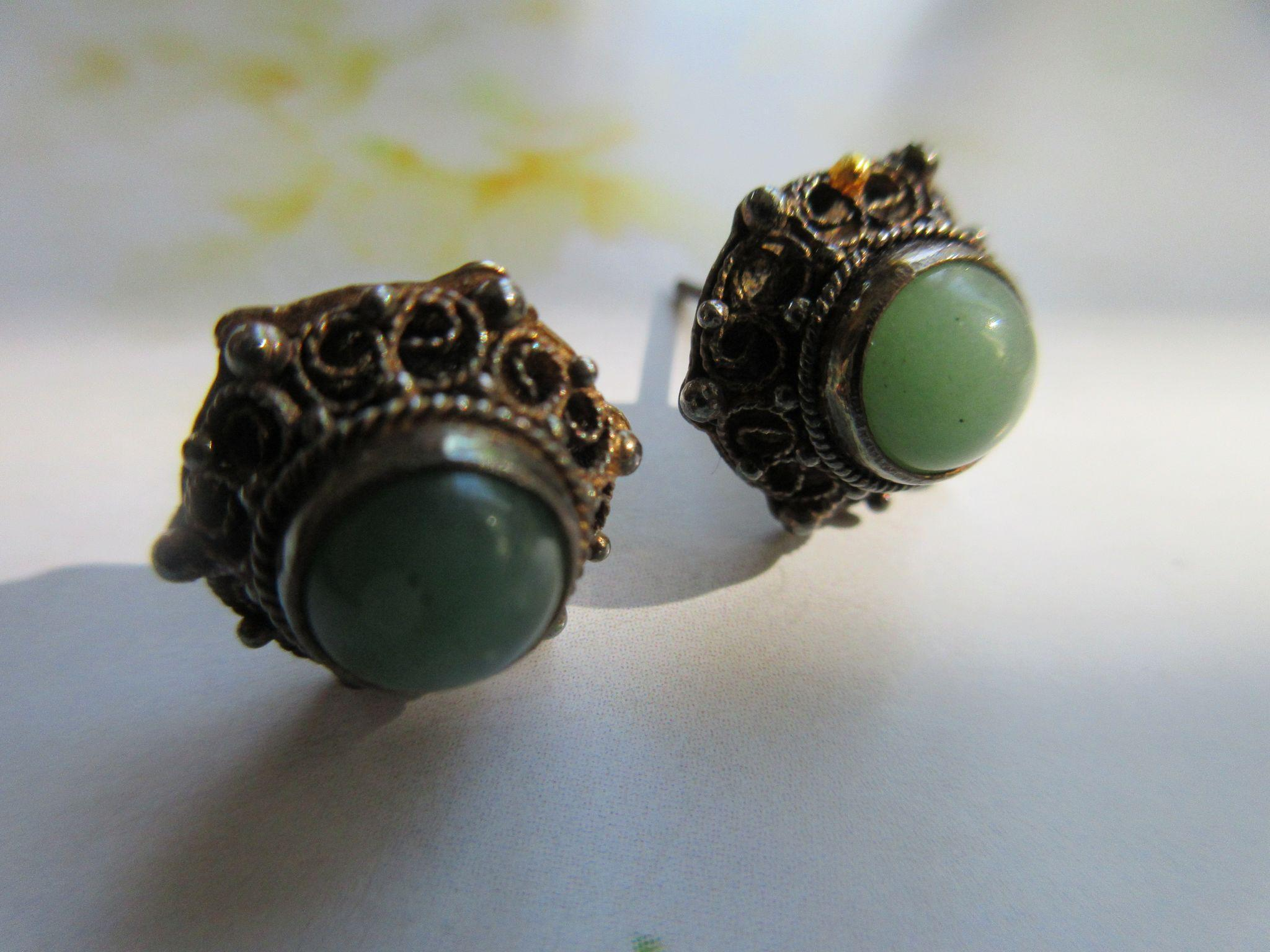 Sterling 925S Natural Stone Cabochon Pierced Earrings
