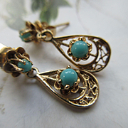 Vintage 10K Turquoise Drop Pierced Earrings, Fine Estate jewelry