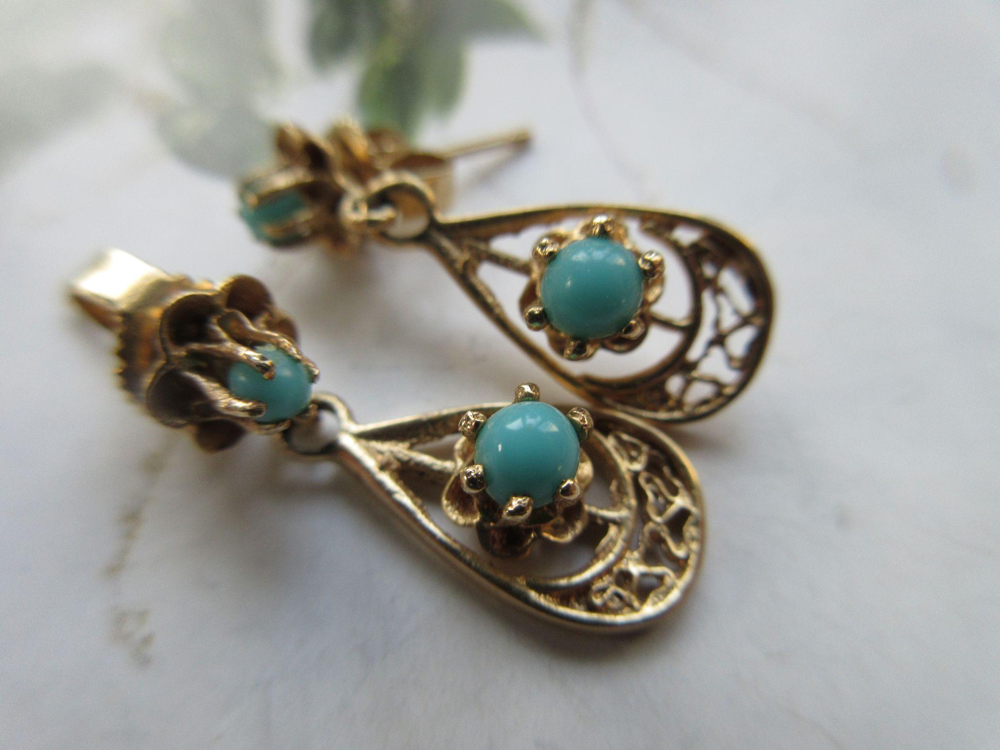 Vintage 10K Turquoise Drop Pierced Earrings, Fine Estate jewelry