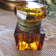 Victorian Cut Glass Ink Well, Antique Amber Glass Ink Well