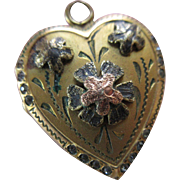 Vintage Paste Heart Locket in Gold Fill, Romantic Vintage Valentines