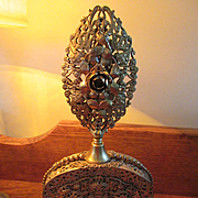 Vintage Gilt Perfume Bottle, Ornate Ormolu Roses Perfume, Glass Dauber