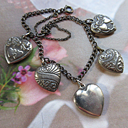 Vintage 1940s Sterling Heart Charm Bracelet, Walter Lampl Heart Charms