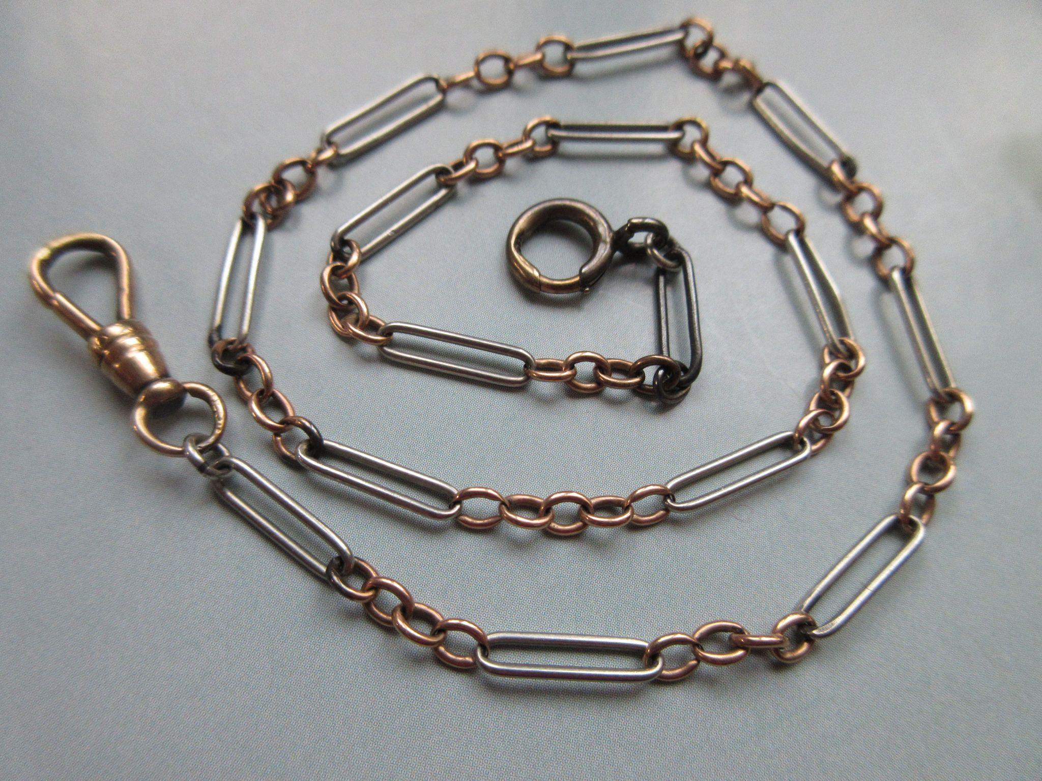 Antique Platinum 14K Rose Gold Watch Chain