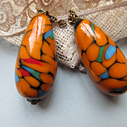 Deco Art Glass Drop Earrings