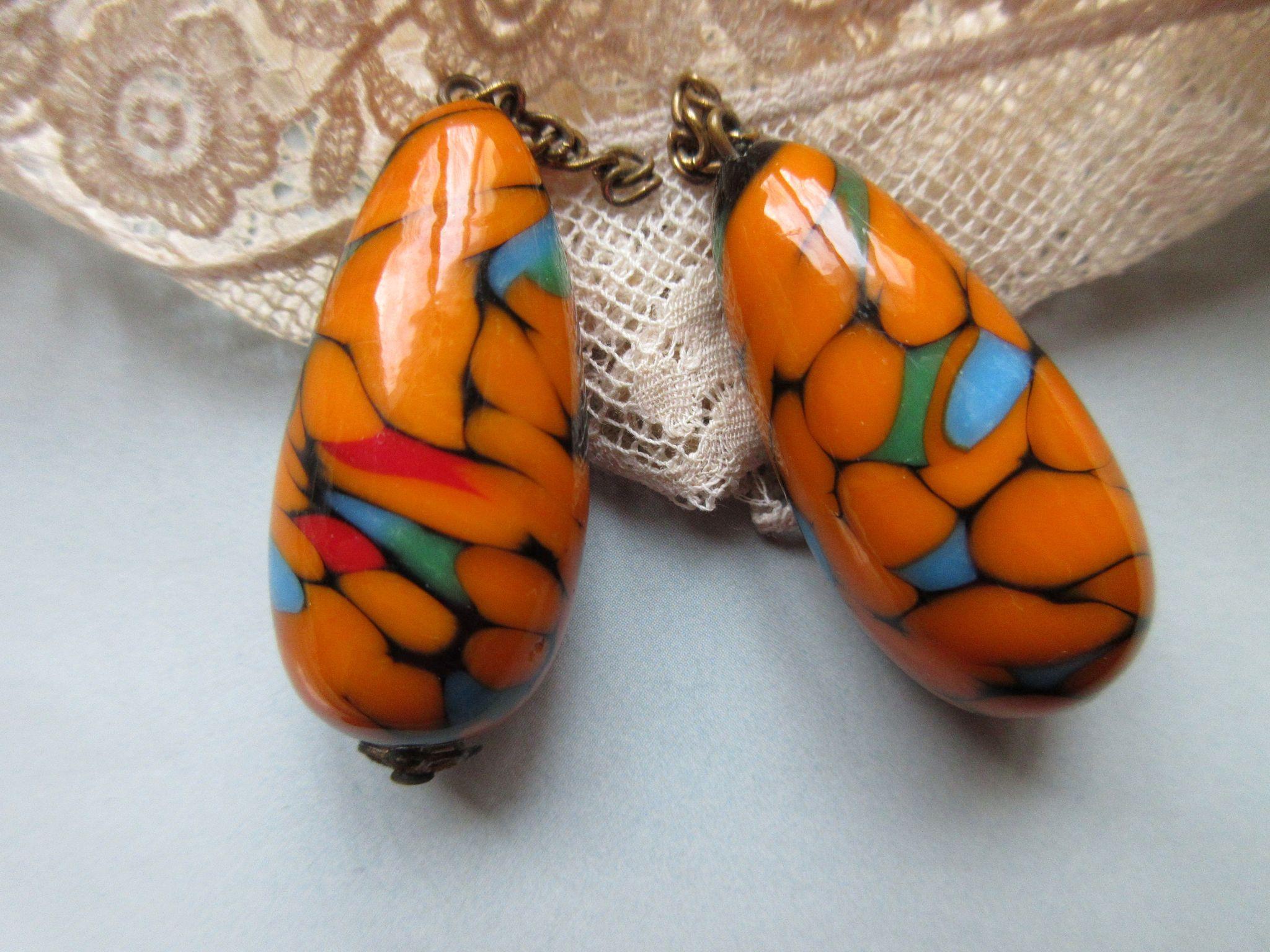 Deco Art Glass Drop Earrings