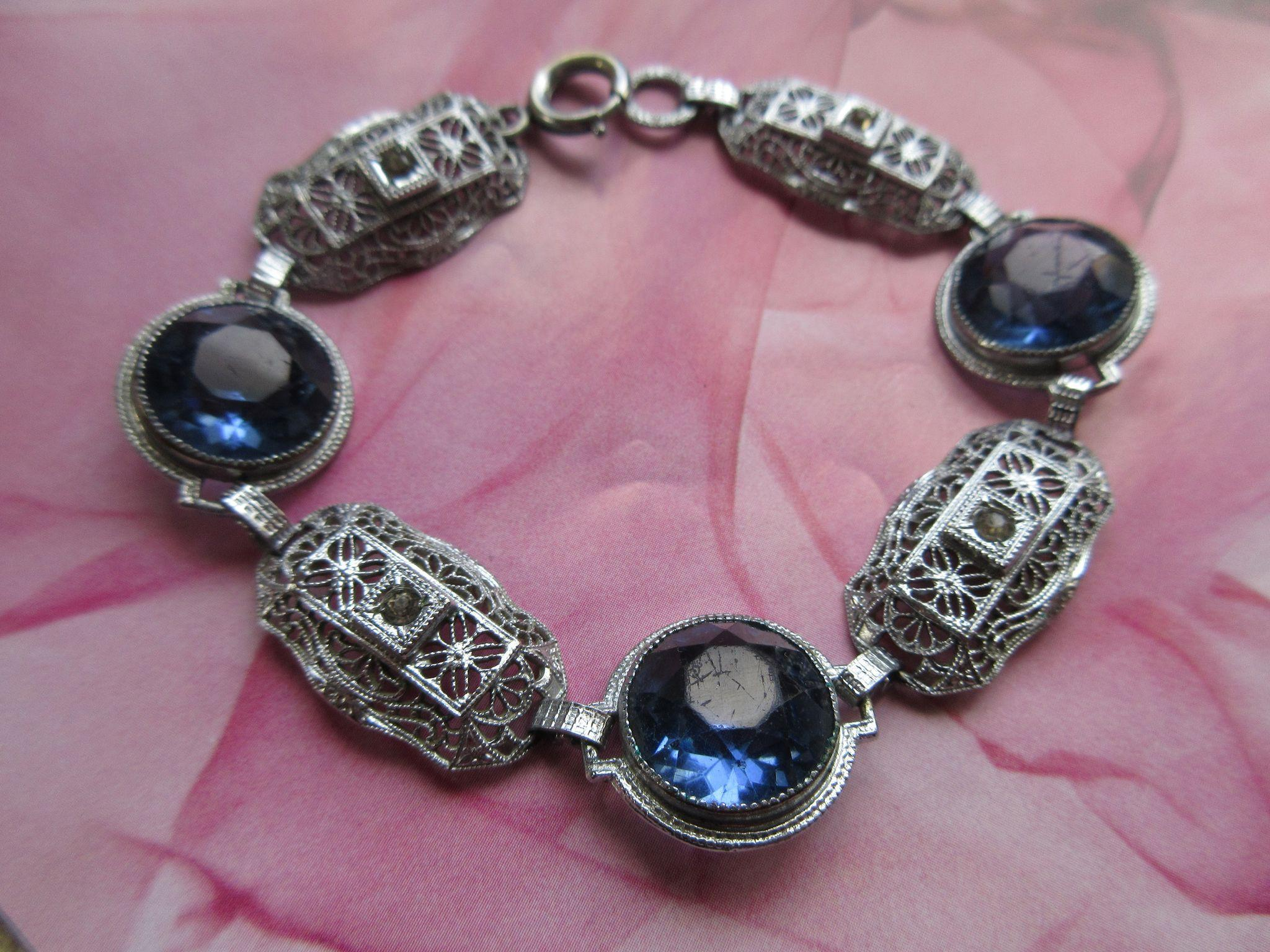 Deco Filigree Blue Crystal Bracelet