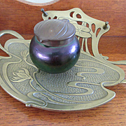 Geschutzt Bronze Art Glass Ink Well, Art Nouveau Antique Ink Well