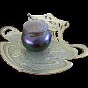 Geschutzt Bronze Art Glass Ink Well, Art Nouveau Antique Ink Well