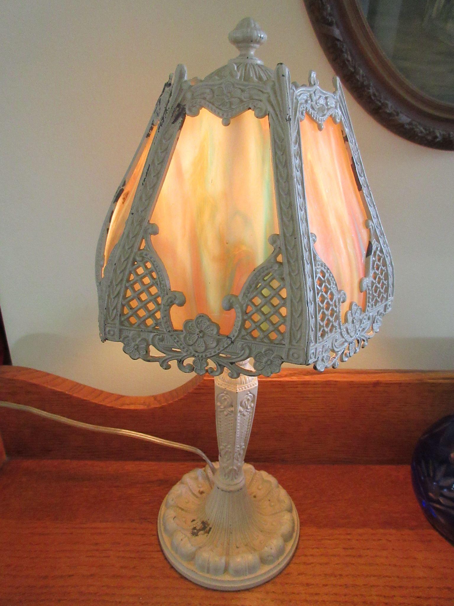 1930s Slag Glass Boudoir Lamp Vintage Lighting From