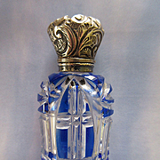 Antique Victorian Blue Overlay Perfume Scent Bottle  TLC