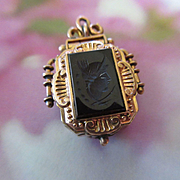 Victorian Tiger Eye, Intaglio Locket in Gold Fill