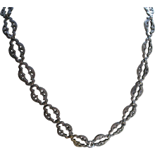 Antique Textured Locket Chain, Book Chain Necklace