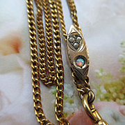 Victorian Ladies Watch Chain, Antique Opal Slide Chain