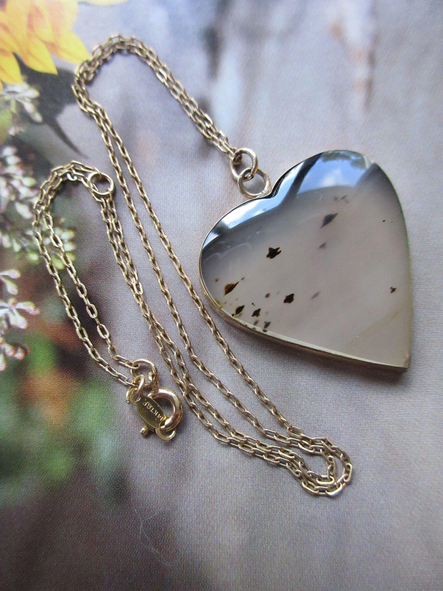 Vintage Moss Agate Heart Necklace in Gold Fill