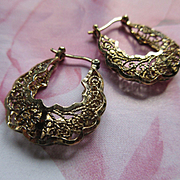 Vintage Sterling Silver Gilt Filigree Hoop Pierced Earrings