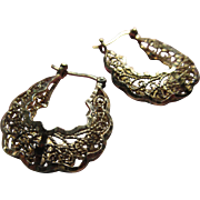 Vintage Sterling Silver Gilt Filigree Hoop Pierced Earrings