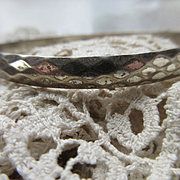 Danecraft Vintage Hammered Sterling Bangle Bracelet Modernist Diamond Pattern