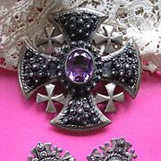 Faux Alexandrite Maltese Cross Pendant and Clip On Earrings, Jerusalem Jordan 930 Silver