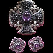 Faux Alexandrite Maltese Cross Pendant and Clip On Earrings, Jerusalem Jordan 930 Silver