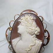 Victorian 9C English Cameo Brooch,  Antique Shell Cameo in Original Box