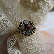 Victorian 10K Moonstone Garnet Paste Ring, Antique Moonstone Ring, Dainty Ring