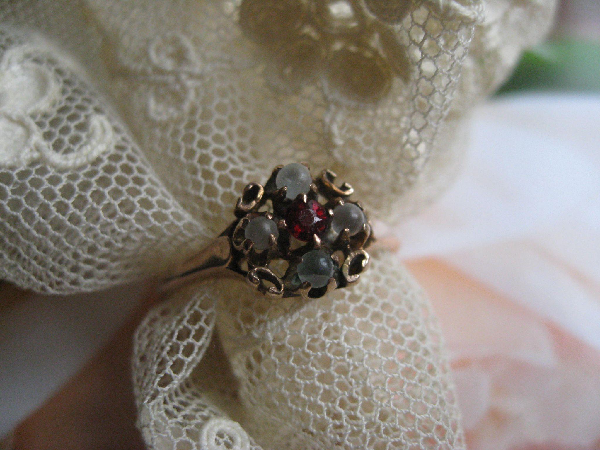 Victorian 10K Moonstone Garnet Paste Ring, Antique Moonstone Ring, Dainty Ring