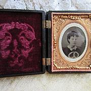 Antique Victorian Ornate Gutta Percha Union Case Frame, Antique Photo Young Girl