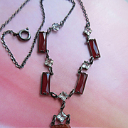 Deco 1920s Sterling Carnelian Glass and Paste Lavaliere Necklace