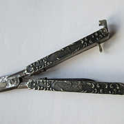 Victorian Sterling Repousse Chatelaine Folding Scissors