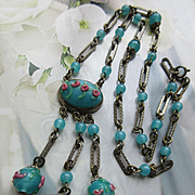 Czech 1930s Lamp Work Beaded Necklace