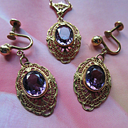 1930s Lavaliere Set in Gold Fill, 1930s Earrings and Necklace