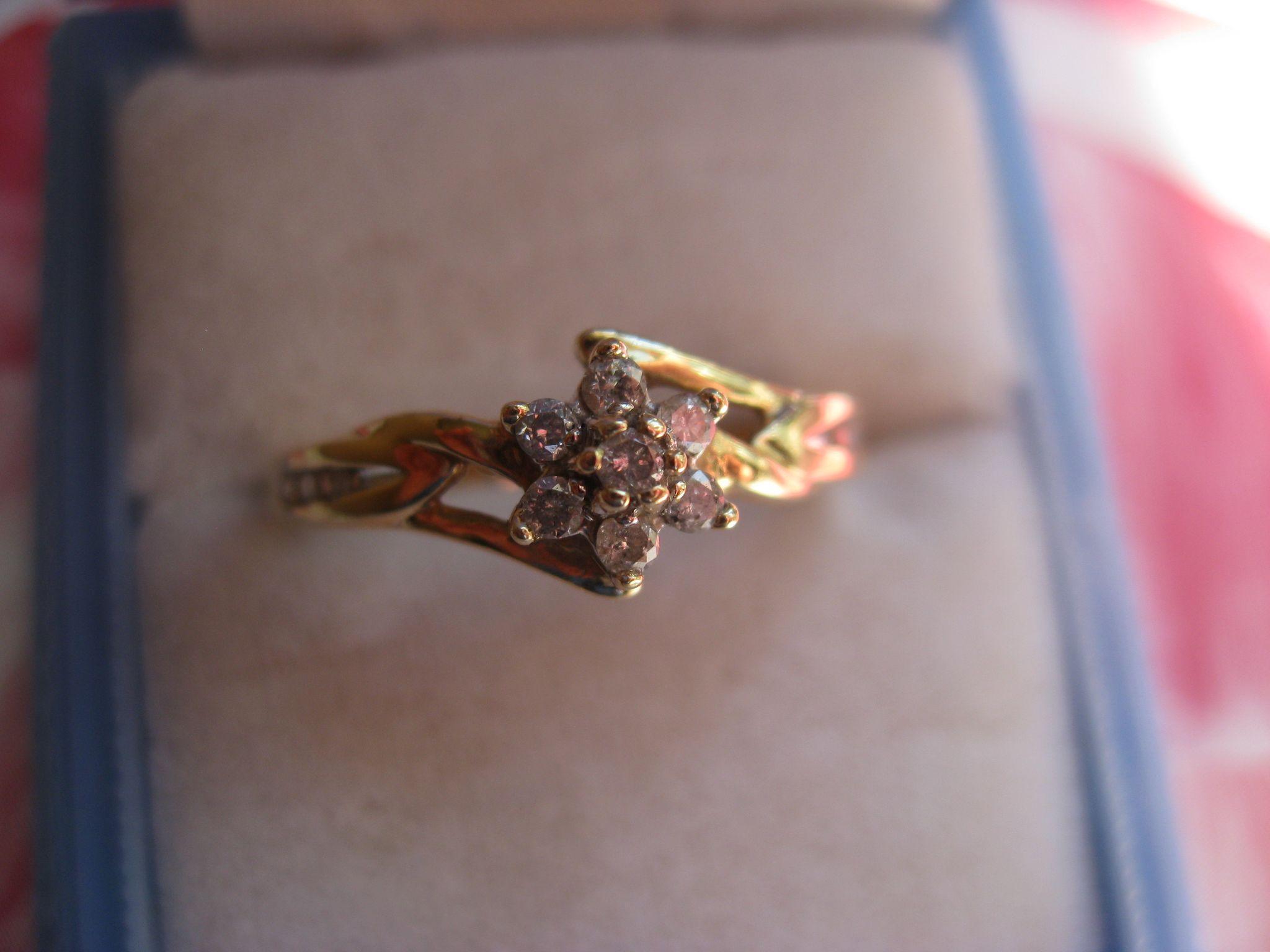 Vintage 10K Diamond Ring, Promise Ring, April Birthstone