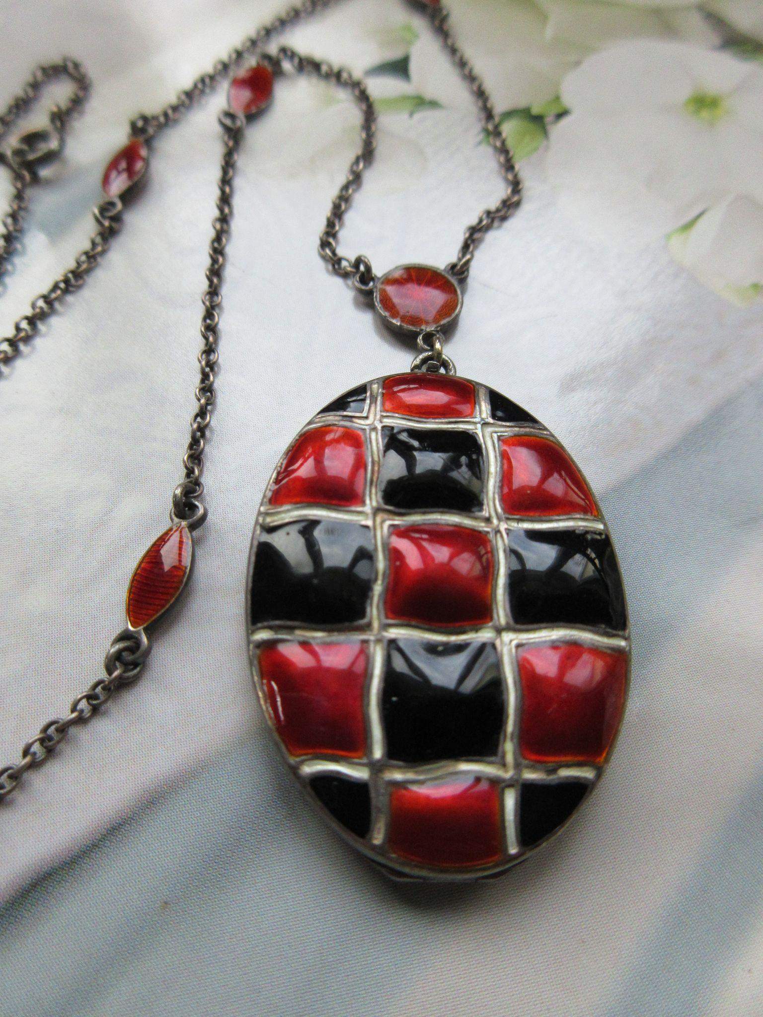 Vintage Enameled Sterling German Locket Necklace