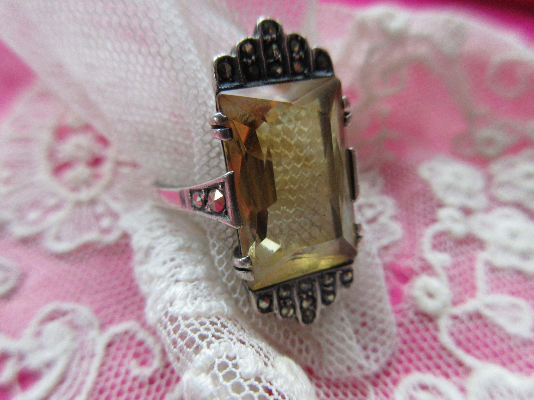 Deco European 935 Silver Crystal Marcasite Ring, Circa 1930