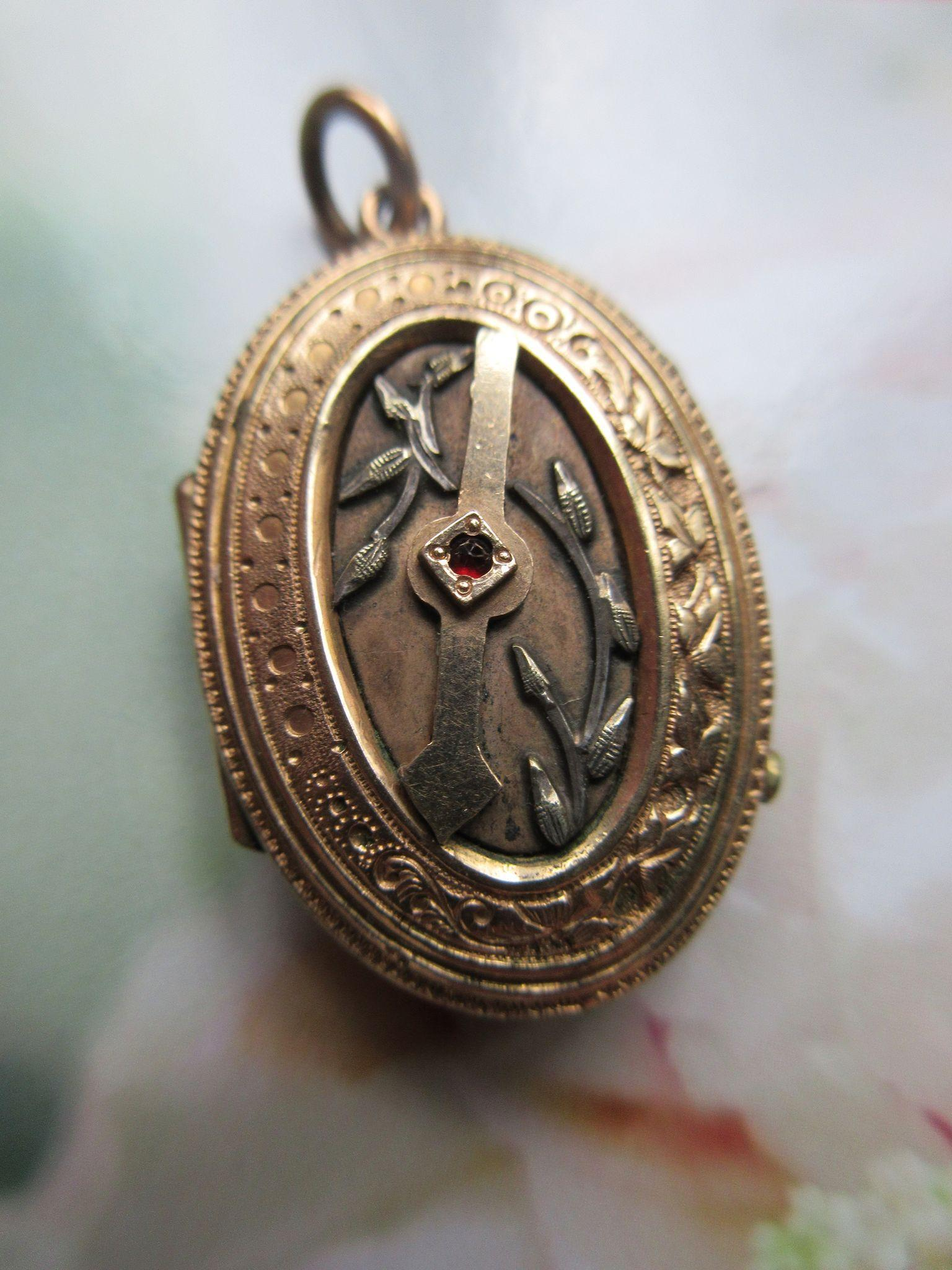Victorian Aesthetic Revival Locket, Tempus Fugit, Mourning Jewelry