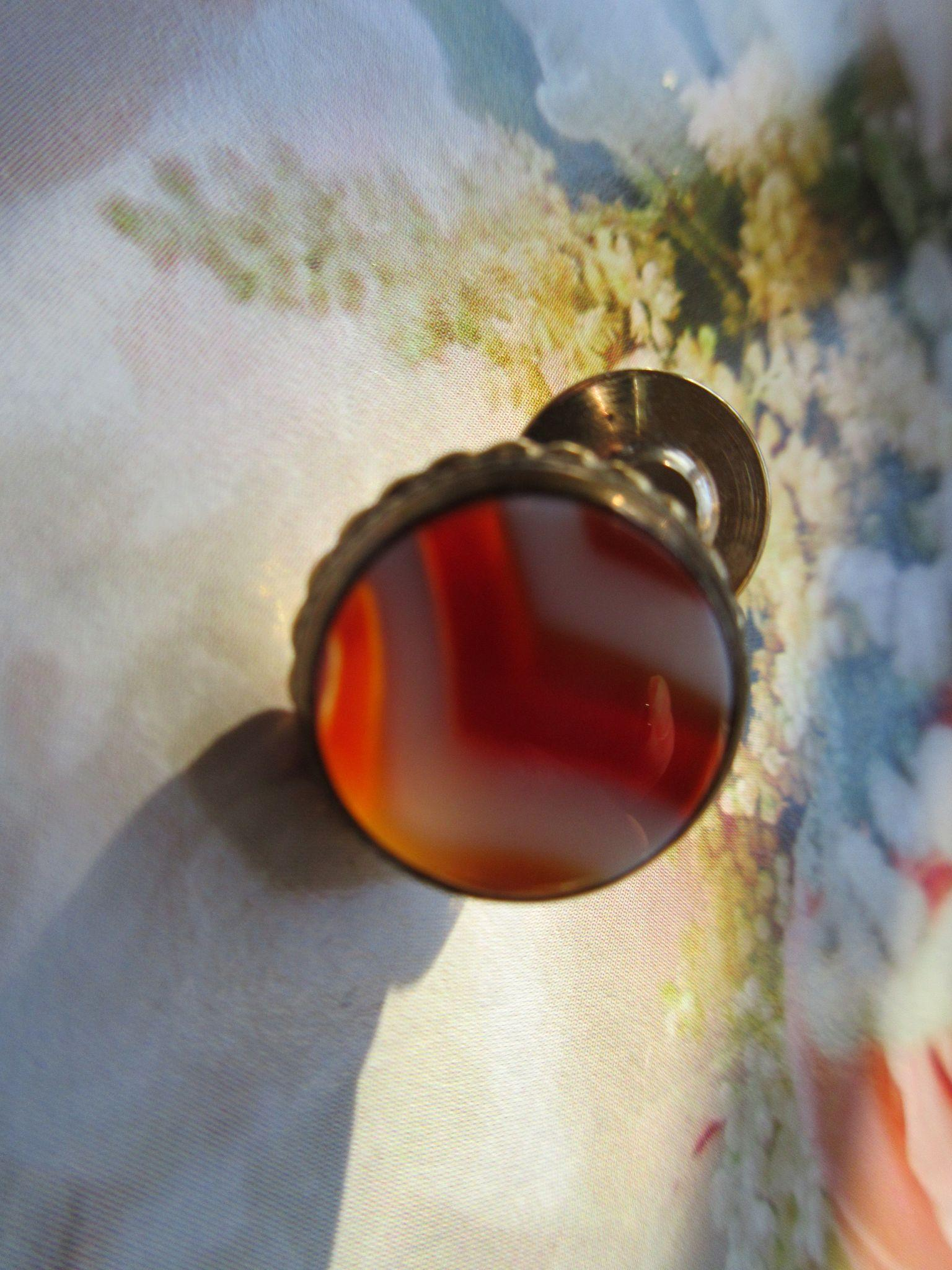 Victorian Banded Agate Tie Tac, Lapel Pin