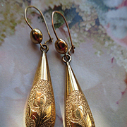 Antique Drop Earrings in Gold Fill, Floral Pierced Earrings